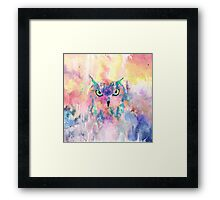 Watercolor eagle owl abstract paint Framed Print