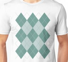 Argyle Diamonds 9 Beryl Green on White Unisex T-Shirt
