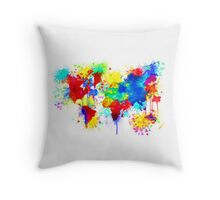 Paint Splatter World Throw Pillow