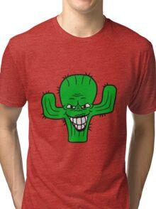 evil vile monster horror halloween demon cactus cartoon comic funny villain face Tri-blend T-Shirt