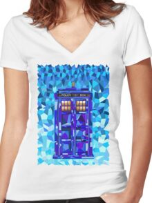 British blue phone booth cubic art Women's Fitted V-Neck T-Shirt