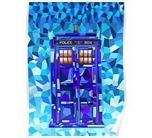 British blue phone booth cubic art Poster