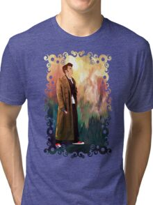 Time Traveller with abstract background art painting Tri-blend T-Shirt