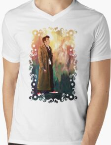 Time Traveller with abstract background art painting Mens V-Neck T-Shirt