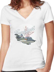 Cartoon Attack Warplane Women's Fitted V-Neck T-Shirt