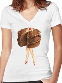 Hot Cakes - Chocolate Ganache Women's Fitted V-Neck T-Shirt