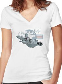 Cartoon Military Cargo Plane Women's Fitted V-Neck T-Shirt