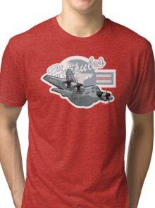 Cartoon Military Cargo Plane Tri-blend T-Shirt