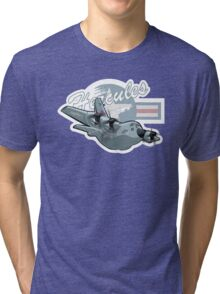 Cartoon Military Cargo Plane Tri-blend T-Shirt