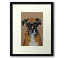 Hipster Boxer Dog Framed Print