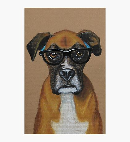 Hipster Boxer Dog Photographic Print