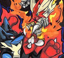 Pokemon Mega Lucario vs Mega Blaziken by Kai Shepard