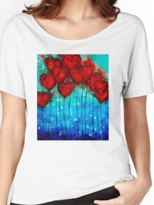 Hearts on Fire - Romantic Art By Sharon Cummings Women's Relaxed Fit T-Shirt