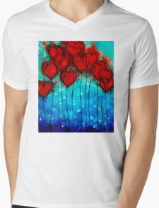 Hearts on Fire - Romantic Art By Sharon Cummings Mens V-Neck T-Shirt