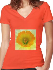 Daffodil close-up with visitor Women's Fitted V-Neck T-Shirt