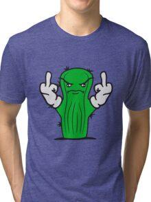 nasty insult comic cartoon wichser fuck you off middle finger little green sweet cute cactus desert balcony not hug Tri-blend T-Shirt