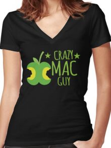 Crazy Mac guy Women's Fitted V-Neck T-Shirt