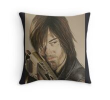 Daryl Dixon TWD in Derwent pencils Throw Pillow