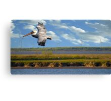 Pelican with Wind Turbines Canvas Print