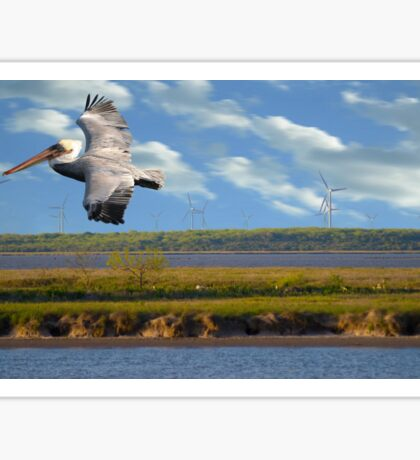 Pelican with Wind Turbines Sticker