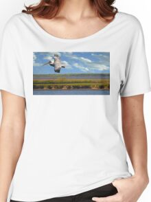 Pelican with Wind Turbines Women's Relaxed Fit T-Shirt
