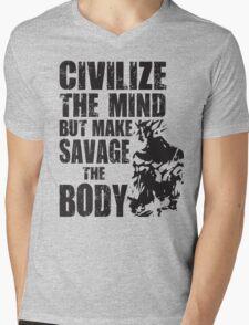 Make Savage The Body (Saiyan Ripped Back) Mens V-Neck T-Shirt