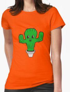 flowerpot sweet cute little cactus face comic cartoon baby child Womens Fitted T-Shirt