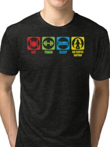 Eat, Train, Sleep, Go Super Saiyan (Horizontal) Tri-blend T-Shirt