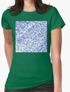 Blue Flowers Pattern Womens Fitted T-Shirt