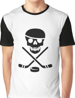 Ice Pirate Hockey Logo - Black on White Graphic T-Shirt