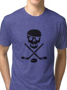 Ice Pirate Hockey Logo - Black on White Tri-blend T-Shirt