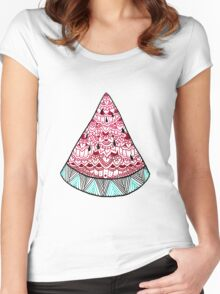 Watermelon: Mint/Red Women's Fitted Scoop T-Shirt