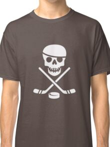 Cool Ice Hockey Pirate Logo - White on Black Classic T-Shirt