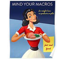 Vintage Mind Your Macros Advertisement, no rust Poster