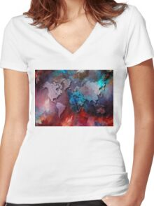 World map special 2 Women's Fitted V-Neck T-Shirt