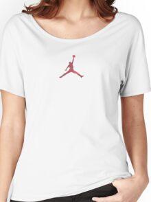Jordan Red Camo Logo Women's Relaxed Fit T-Shirt