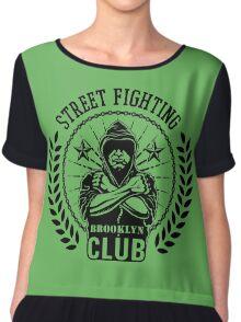 Street fight emblem Brooklyn Club black Chiffon Top