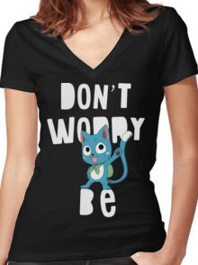 Fairy tail - Don't worry, be happy Women's Fitted V-Neck T-Shirt