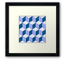 CUBE - blue Framed Print