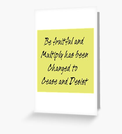 be fruitful and multiply Greeting Card