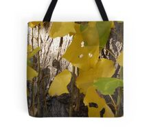 Silver Gold and Green Autumn Leaves Tote Bag