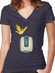 Minimalist Bastion and Ganymede Women's Fitted V-Neck T-Shirt