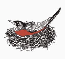 Robin Redbreast in Her Nest Illustration One Piece - Short Sleeve
