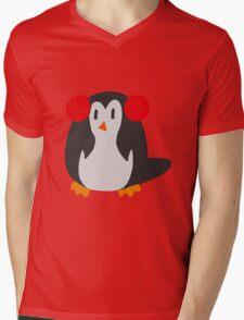 Earmuffs Penguin Mens V-Neck T-Shirt