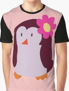 Flower Penguin Graphic T-Shirt