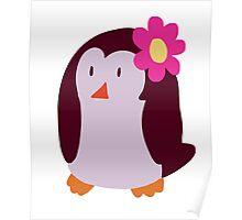 Flower Penguin Poster