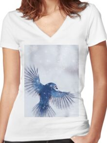 Winter Chickadee 2 Women's Fitted V-Neck T-Shirt