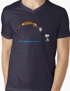 Hobbes And Snoopy Mens V-Neck T-Shirt