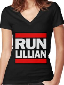 Unbreakable Kimmy Schmidt Inspired Rap Mashup - RUN Lillian - UKS Shirt - Females are Strong as Hell Parody Shirt Women's Fitted V-Neck T-Shirt