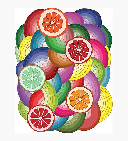 Abstract pattern with multicolor citrus fruits Photographic Print